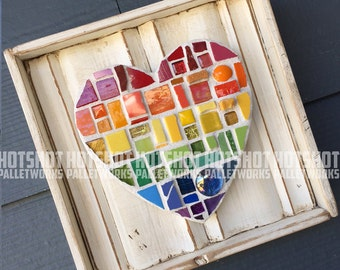 Mosaic Heart, Love, Pride, Rainbow, LGBTQ, Vintage-looking Pallet wood hand made, mosaic, hand painted sign