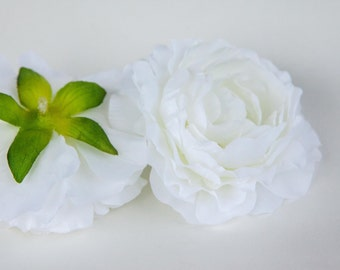 Silk Artificial Flower - White Ranunculus - 3.5 inches - ITEM 0288
