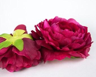 Silk Artificial Flower - Plum Ranunculus - 3.5 inches - ITEM 01045