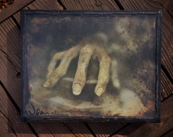 The CREEPY Hand - One Of A Kind - original photo altered with mixed media on canvas. Ready to hang. Creepy Dolls Robotic by Jean Lannen