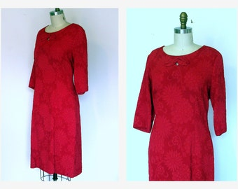 Vtg. 60s Dress Red Dress  Sheath Dress Fitted Long Sleeve Large Dress