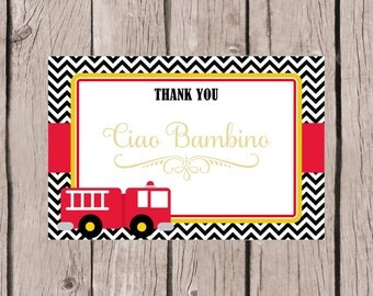 PRINTABLE Firetruck Thank You Card / Firetruck Birthday Party Thank You Card in Red, Black & Yellow / 4x6 Cards You Print / INSTANT DOWNLOAD