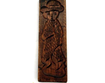 Vintage Wooden Gingerbread Cookie Mold, Old Dutch Folk Art, Hand Carved Wood Block Wall Hanging, Speculaas Plank