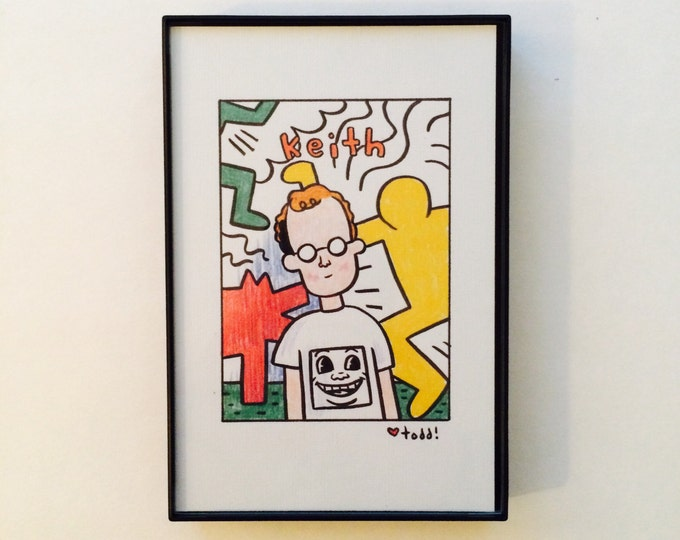 Keith Haring, 4x6 inch print, art, drawing, artists, painter, portrait, radiant baby, radient dog