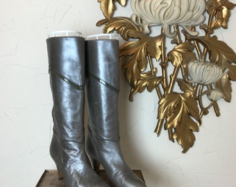 1980s boots 80s boots pewter boots bargif boots size 7 vintage boots gray boots leather boots