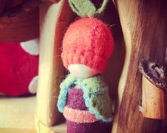 SPRING SALE Rose Hip Gnome Painting Pixie Original Waldorf inspired natural dollhouse play storytelling  seasonal display