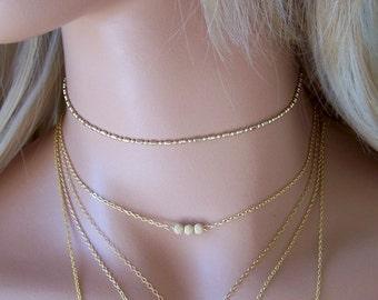 Gold Ball Chain Choker Necklace, Layered Necklace, Gold Choker, Dainty Choker,  Chain Choker, Christmas Gift, Bridesmaids Gift
