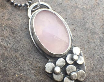 25% Off - Sterling Silver Rose Quartz Flower Necklace