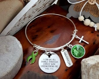 LG-1 Lung Transplant Bracelet Gastroparesis Lyme Awareness Jewelry All Things Through Christ Warrior Birthstone Bracelet Gift For Her