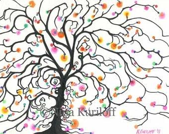ORIGINAL Fine Art Flowering Tree Drawing Artwork Wall Decor