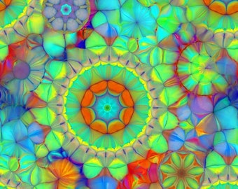 COLORFUL Textile Artist Created Lycra Knit Fabric By The Yard Athletic Apparel Swimwear Swim Suit Kaleidoscope