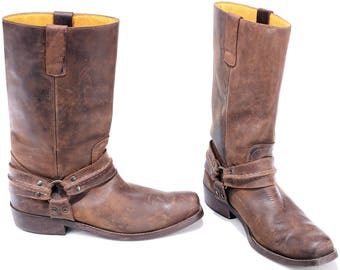Vintage Men's COWBOY Boots 80s Brown Waxed Leather Motorcycle Boot Festival Tall Southwestern Boots Western Men Us 10.5 UK 10 EUR 44.5