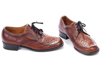Woven Shoes Oxford 80s Brown Retro Basket Weave Leather Shoes Retro 1980s Shoes Oxfords Gift for Men sz Us Men 8, Eur 41 , Uk 7.5