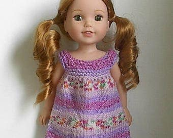 "14.5"" Doll Clothes Knit Dress Handmade to fit Wellie Wishers dolls - Lilac Jacquard Summer Dress Shades of Purple"