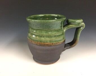 Green candy mug, handmade pottery, beer stein, ready to ship