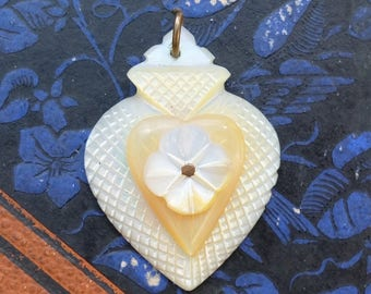 Vintage Heart Carved Mother of Pearl Pendant Sailor Valentine
