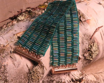 Teal Green Bugle Bead Bracelet