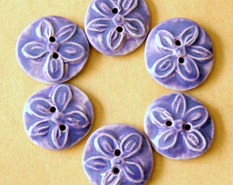 6 Handmade Ceramic Buttons - Small Lavender Star Flower Buttons