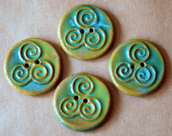 4 Handmade Ceramic Buttons - Spring Green Triple Spiral Buttons in Brown Stoneware - Celtic Buttons - Clay Focal Artisan Buttons