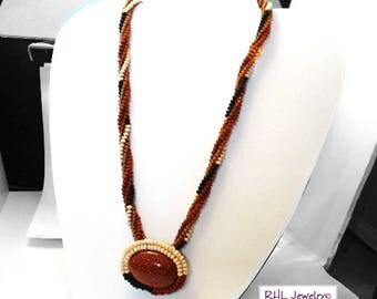 Goldstone Pendant, Peyote Necklace, Modern Necklace, Rope Necklace, Copper N2016-03