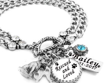 Dog Memory Jewelry, Personalized Dog Bracelet, Rescued and Loved, Animal Rescue Jewelry, Engraved Dog's Name