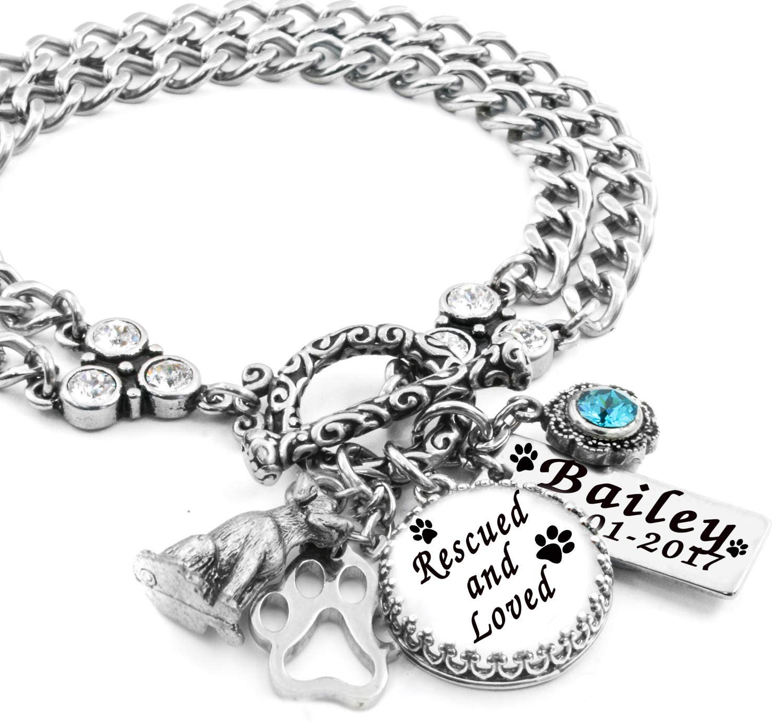 Memory Charm Bracelets: Dog Memory Jewelry Personalized Dog Bracelet Rescued And