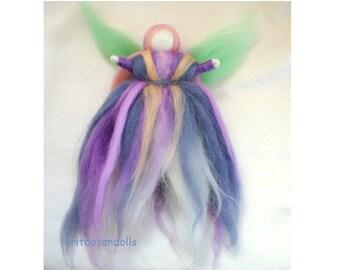 Wool dancing fairy art doll Waldorf arts made of merino wool