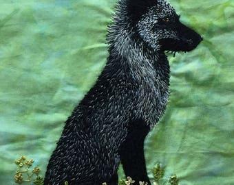 Summer Coat, arctic fox, unframed, embroidery illustration