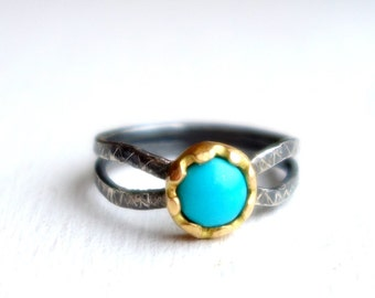 Lotus Ring- 18K Yellow Gold, Sterling Silver, and Turquoise