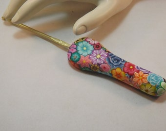 Extra Large Ergonomic Handled Millefiori Floral Polymer Clay Covered Crochet Hook Boye C 2.75mm