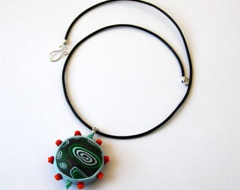 Whimsical Clay Pendant Necklace with Leather and Sterling Silver