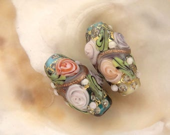 Floral Bead Pair Handmade Lampwork