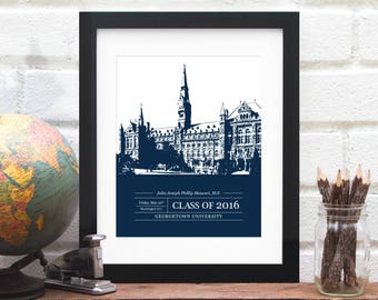 Gift for Grad, Graduation Gift, Graduate Class of 2017, University or College Graduation Art, School Colors, Alumni Gift- 8x10 Art Print
