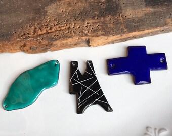 Enamel on Copper Pendants, Turquoise Enamel, Blue Enamel, Black and White Enamel, Puzzle Piece, Sideways Cross, Puddle Pendant, Etsy
