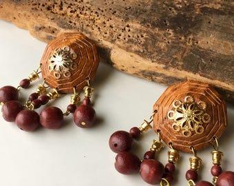 Vintage Wood Tribal Earrings, Dangle and Drop, New Old Stock, Wooden Earrings, Post Earrings, Big Earrings, 80's Earrings, 1980's