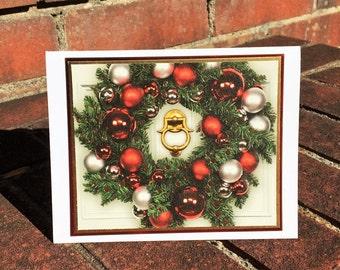 OOAK Recycled Season's Greeting Wreath Christmas Card w/ Envelope