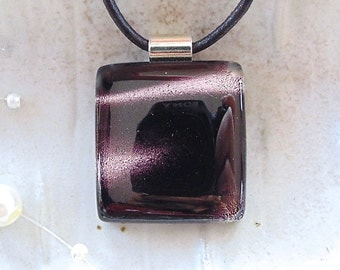 Dichroic Pendant, Glass Jewelry, Pink, Black, White, Necklace Included, A5