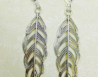 Long Silvery Bird Feather Dangle Earrings ExLarge Size Two and 3/4 Inches Long with Leverback Earwires