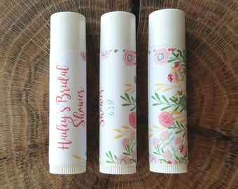 Personalized Lip Balm Stickers -- Growing Wildflowers -- Custom Chapstick Labels, Birthday Party Favors, Wedding Favors