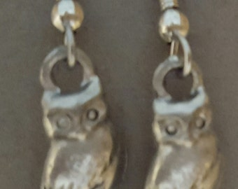 Owl Earrings Pewter