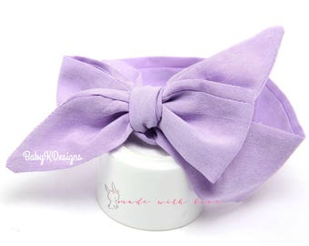Newborn Light Purple Head Wrap Baby Headwrap.Headband Bow Infant Toddler Girl Cotton Headband Bow Turban Dress Sash Big head band messy bow
