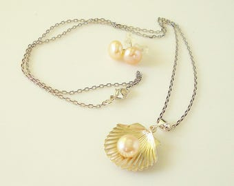 Argentium silver .935 clam shell, pink or lavender pearl clam shell necklace and earring set with shiny rhodium silver chain - made to order
