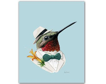 Hummingbird art print by Ryan Berkley 5x7