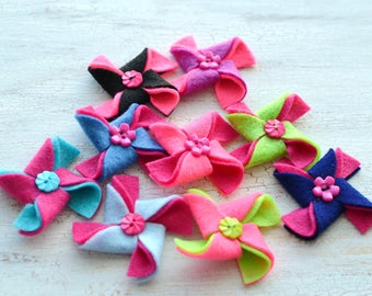 Pinwheel appliques, felt pinwheel, pinwheels for crafts, pinwheel flowers bulk, pinwheels for headbands (set of 9pcs) - PINK- BLUE PINWHEELS