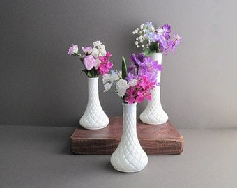 Vintage Milk Glass Flower Vases, Bud Vases, Wedding Vases, Wedding Decorations, Milk Glass Vase Collection, Set of 3