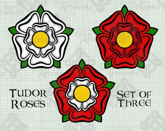 COLOR Digital Download, Tudor Roses, York Lancaster, English UK Great Britain War of the Roses Royalty Heraldry, Digi Stamp, Transparent png