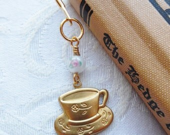 Rose Sugar Please, Bookmark with Teacup Charm