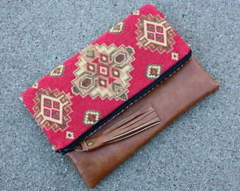 Ethnic Tribal Style Upholstery Foldover Clutch / Aztec Navajo Clutch
