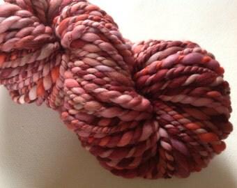 Handspun merino super bulky yarn 68yds  3-4wpi Rosy Glow 6ozs
