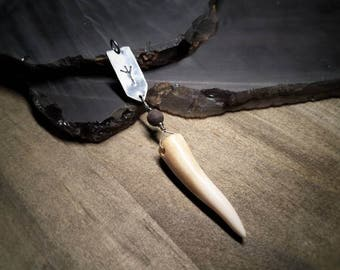Cornibus / found antler pendant complimented with wood, hematite and fine silver